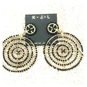 Kenneth Jay Lane black and gold earrings. NWT